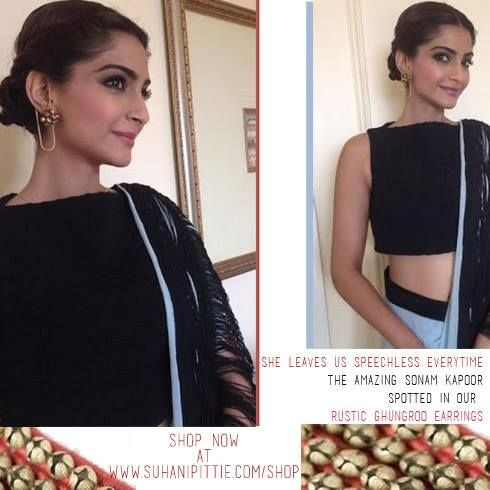 Sonam Kapoor, breathtakingly stunning! Seen in our rustic ghungroo earrings. Shop now @ www.suhanipittie.com/shop