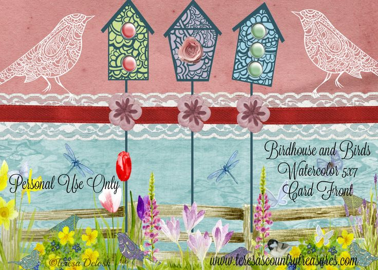 #Birdhouse and #Birds 5 x 7 #Card Front #Printable