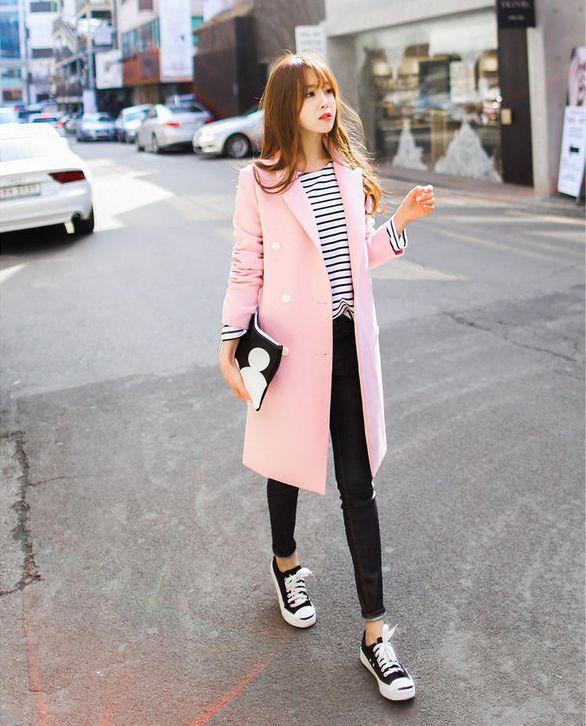 Bongjashop - Peaked-Lapel Double-Breasted Coat #coat #doublebreastedcoat #peakedlapelcoat