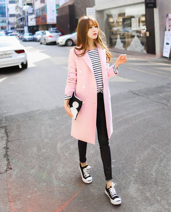 Bongjashop - Peaked-Lapel Double-Breasted Coat #coat #doublebreastedcoat #peakedlapelcoat