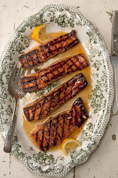 Salmon Glazed with Rosemary and Lemon Infused Honey Recipe -  The rosemary-infused honey gives this dish a sweet and aromatic flavor.  -Saveur.com