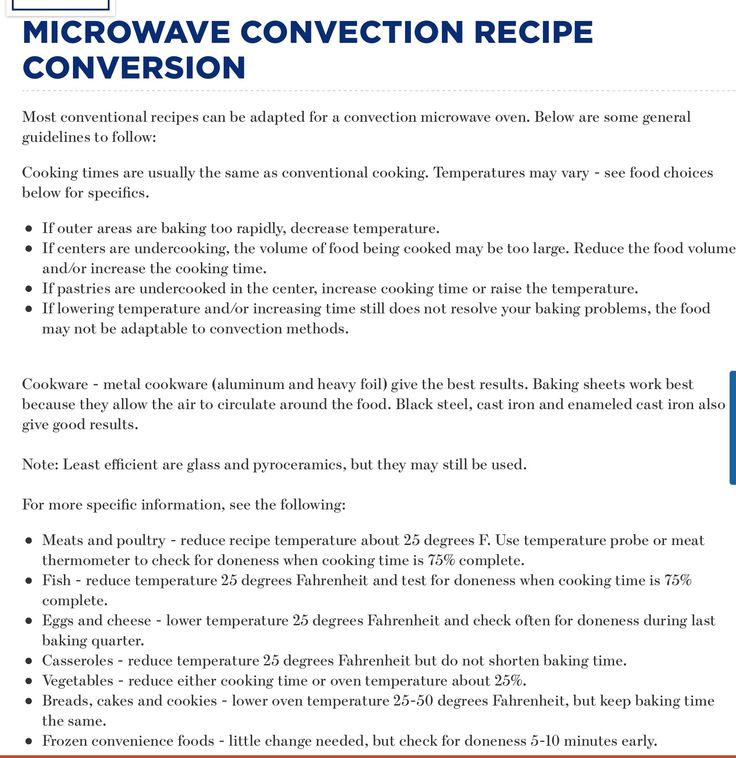 Microwave Cooking Time Conversion Chart