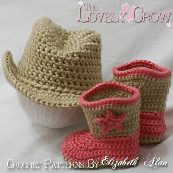 How cute! Crocheted cowboy hat & boots.