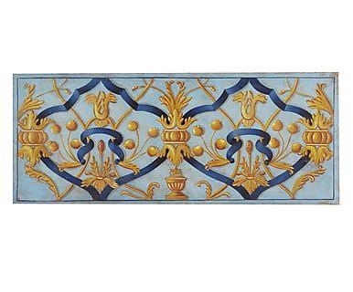 Affresco realizzato a mano su tela Grottesca con Nastro Blu, 170x70 cm