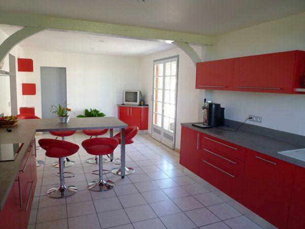 Cuisine Rouge Et Blanc Génial Table De Cuisine Avec Plan De ...