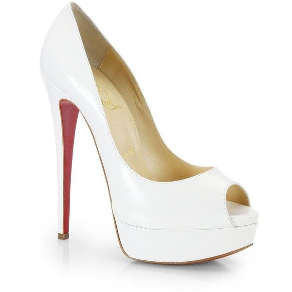 Christian Louboutin Lady Peep Leather Pumps found on Polyvore featuring polyvore, fashion, shoes, pumps, heels, apparel & accessories, white, leather platform pumps, high heel platform pumps and white peep toe pumps