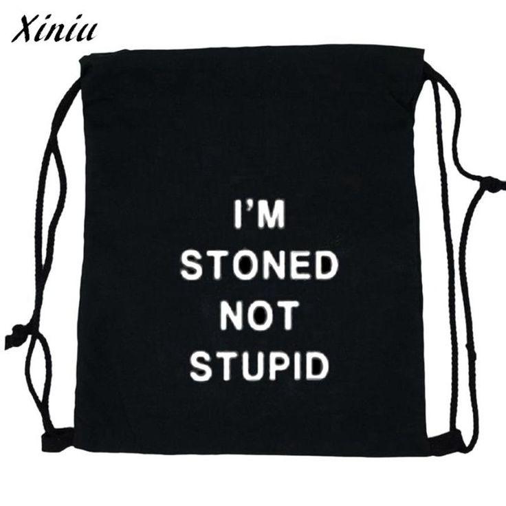 [Visit to Buy] Xiniu Backpacks For Teenage Girls Stylish Letter Printing Women Black Drawstring Bag School Backpack Sac A Dos #1222 #Advertisement