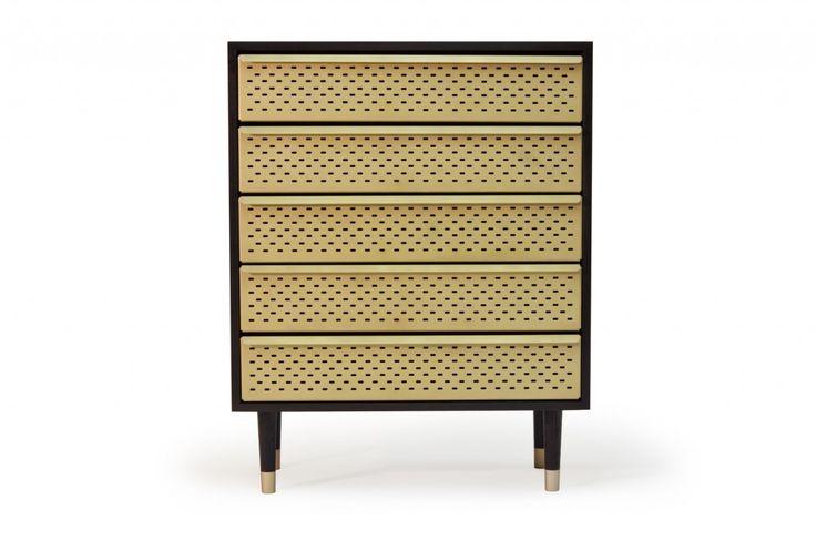 Locker by Magnus Pettersen Studio. Chest of drawers. dresser. brass. black. wood. ash. industrial. perforated. metal. http://www.magnuspettersen.com