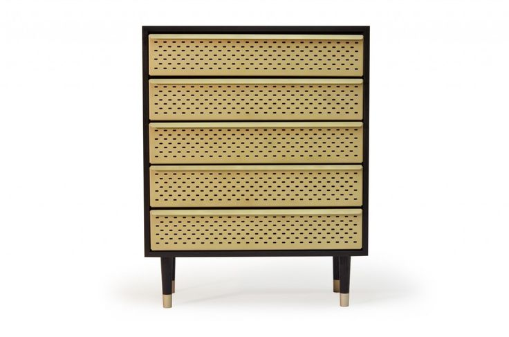 Locker by Magnus Pettersen Studio. Chest of drawers. dresser. brass. black. wood. ash. industrial. perforated. metal. http://www.magnuspettersen.com