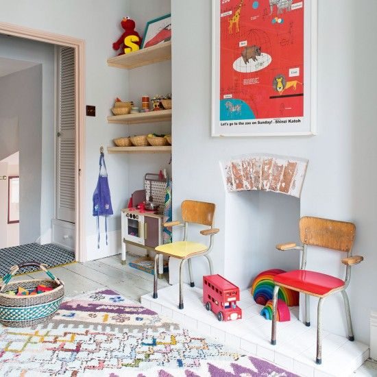 Keep the backdrop to a children's room understated and clean-ups and updates are easy. This blue-grey shade is soothing and gender neutral and can be accessorised with an assortment of happy brights. A fun zoo animal print mounted on the chimney breast takes the lead and rainbow coloured toys act as decoration as well as play things. A fun patterned rug makes the hard-wood floor soft for little feet while two colourful reclaimed school-style chairs are retro cool.