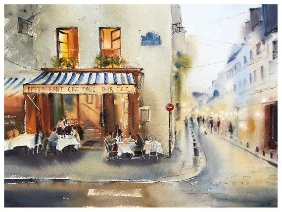 Paris Cafe Watercolor Painting Original Artwork Wall Art Gift