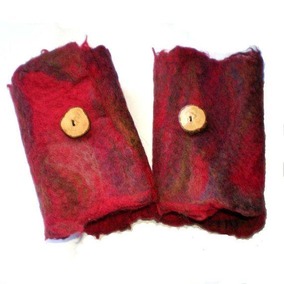 Red Felted Cuffs Wrist Warmers Australian by MissTreeCreations, $30.00