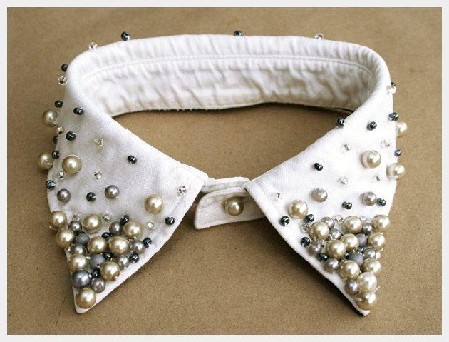 17 Interesting DIY Fashion Ideas, diy pearl collar  cuffs on shirt
