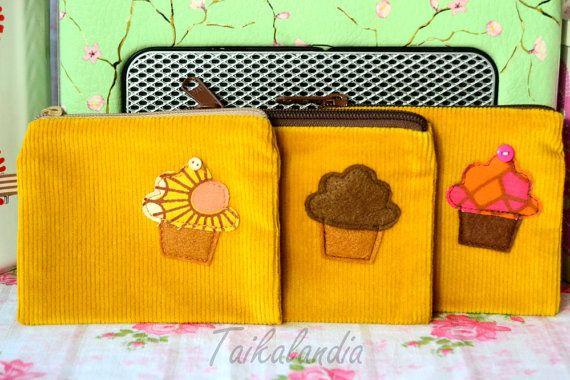Mustard Color Cupcake Zipper Pouch  Corduroy Cupcake by TaikaLand
