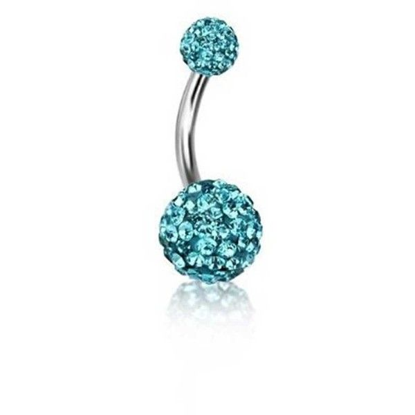 Bling Jewelry Skai Ball Charmer Body Jewelry ($13) ❤ liked on Polyvore featuring jewelry, piercings, blue, body jewelry, body-piercing-rings, steel jewelry, fake body jewelry, body jewellery and belly button rings jewelry