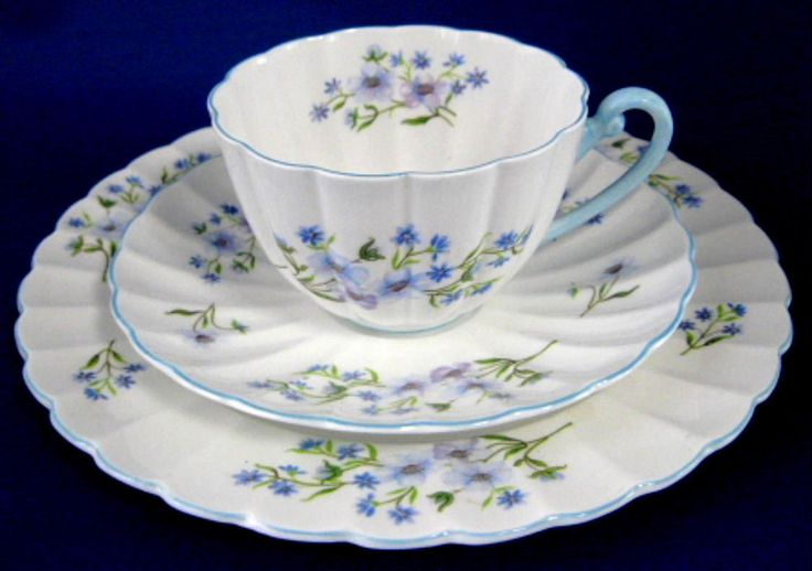 Shelley Cup And Saucer Teacup Trio Blue Rock Ludlow Blue Trim – Antiques And Teacups