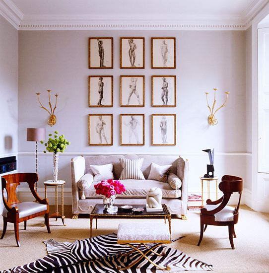 17 Beautifully Feminine Rooms to Get Inspired By// zebra hide, art gridLiving Rooms, Elle Decor, Living Spaces, Alex Papachristidis, Livingroom, Interiors Design, Zebras Rugs, Gallery Wall, Alex O'Loughlin