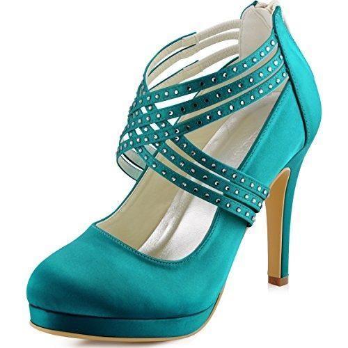 Oferta: 55.99€. Comprar Ofertas de ElegantPark EP11085-PF Mujer Stiletto talón Plataforma Rhinestones Zipper Satén Fiesta Zapatos De Boda Teal 37 barato. ¡Mira las ofertas!