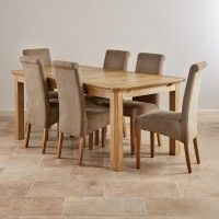 Edinburgh Natural Real Oak 6ft Extending Table with 6 Scroll Back Plain Sage Fabric Chairs