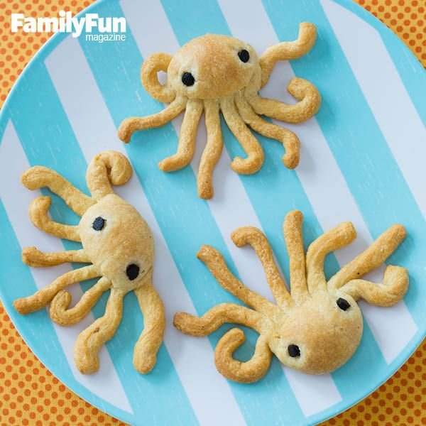 On a Roll: Make waves at the table with these easy-prep dinner rolls, each cleverly snipped and shaped into an octopus.