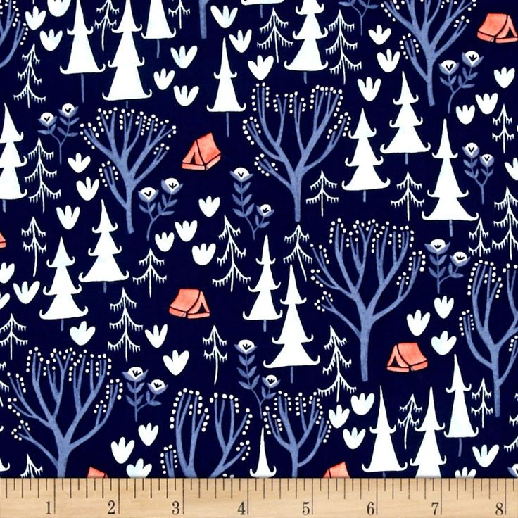 Dear Stella Trail Mix Woods Navy from @fabricdotcom  Designed by Rae Ritchie for Dear Stella Designs, this cotton print is perfect for quilting, apparel and home decor accents. Colors include navy, blue, white and coral.