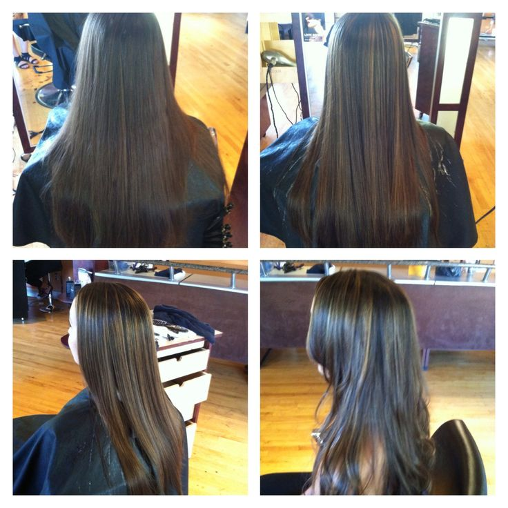 Balayage highlight natural looking highlights on dark hair
