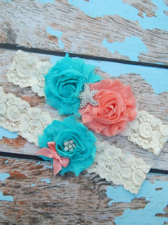 Hey, I found this really awesome Etsy listing at https://www.etsy.com/listing/192385901/wedding-garter-coral-turquoise-garter