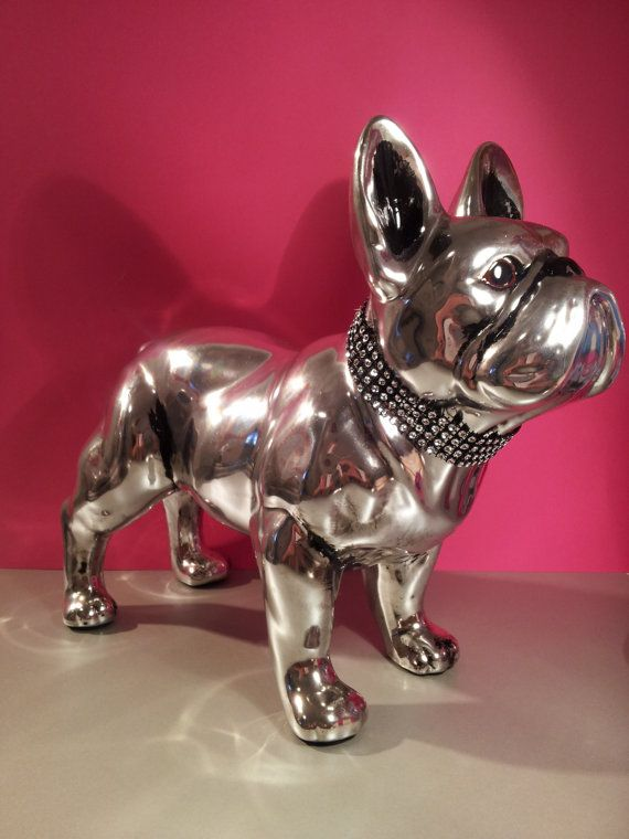 """Big Statue French Bulldog ceramic """"Shine"""", hand-painted by Laure Terrier, decoration or collection"""