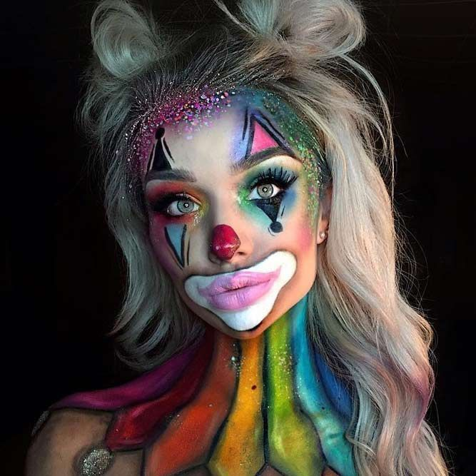 Halloween makeup, clown costume. Best makeup for Halloween. Girl costume, adult, teen, child. #afflink