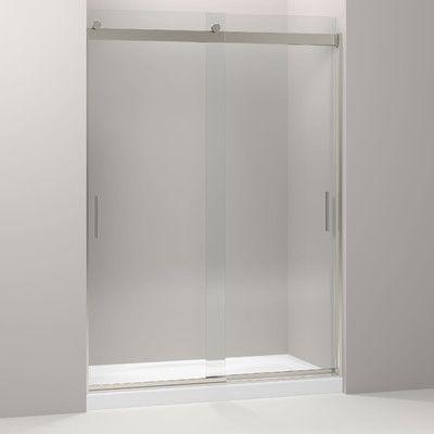 "Kohler Levity 59.63"" x 82"" Double Sliding Shower Door with Blade Handles Finish: Brushed Nickel"