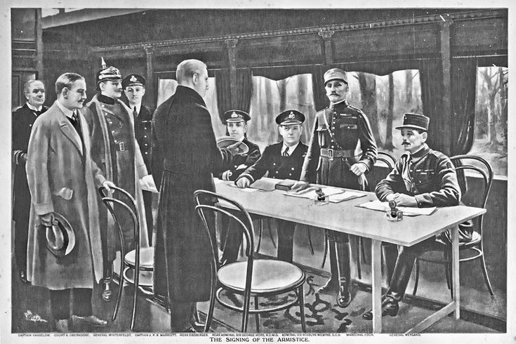 The signing of the Armistice, vintage engraving. Inside the wagon of the Armistice at