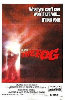 """The Fog - 1980 version.... evil, drippy cursed pirate ghosts/zombie-like with hooks kill everyone from the kindly grandmother babysitter to the compromised priest.  Adrienne Barbeau's character as a DJ - cries into her mic """"Andy? Andy? someone help my son!  The FOG is coming"""" It's awful, awful, awful and I really love this movie :) It is a guilty pleasure"""