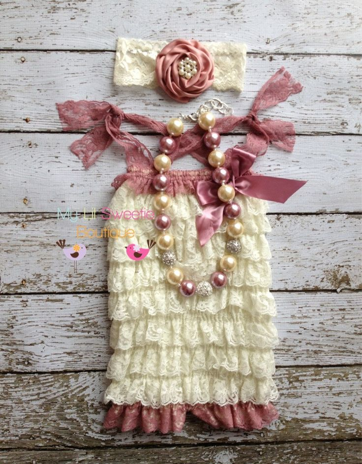 NEW Ivory and Rose  Lace Petti Romper set- Newborn - Baby Girl - Toddler outfit- birthday outfit - Valentines Day- birthday outfit. $37.95, via Etsy.
