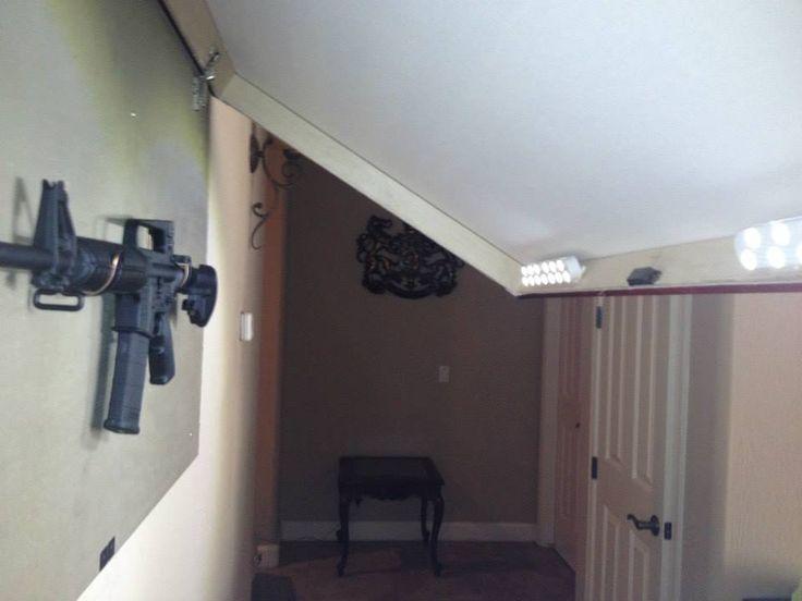 Kit up arms advocate diy concealed rifle rack hidden for Diy hidden storage