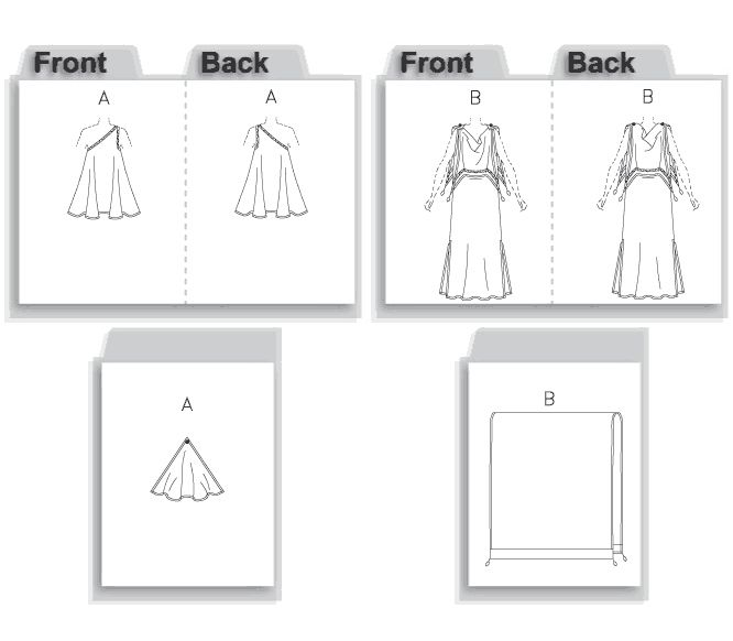 MISSES' ANCIENT GREEK COSTUMES: Tunic A: one shoulder and elasticized neck edge; drape is attached to tunic with decorative pin. Dress B: ankle length with foldover drape, side slits and button trim at shoulders. Both costumes have narrow stitched hem, purchased trim and ribbon belt. Wrap B: contrast bands, purchased tassels.
