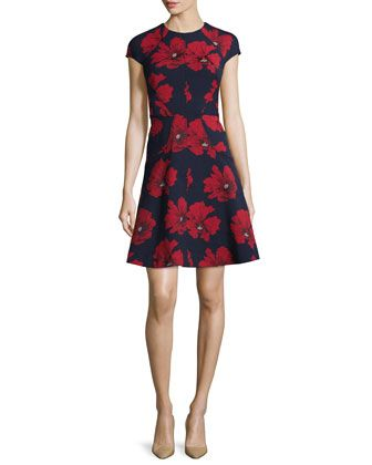 Blair+Cap-Sleeve+Floral-Print+Dress,+Navy/Poppy+by+Lela+Rose+at+Neiman+Marcus.