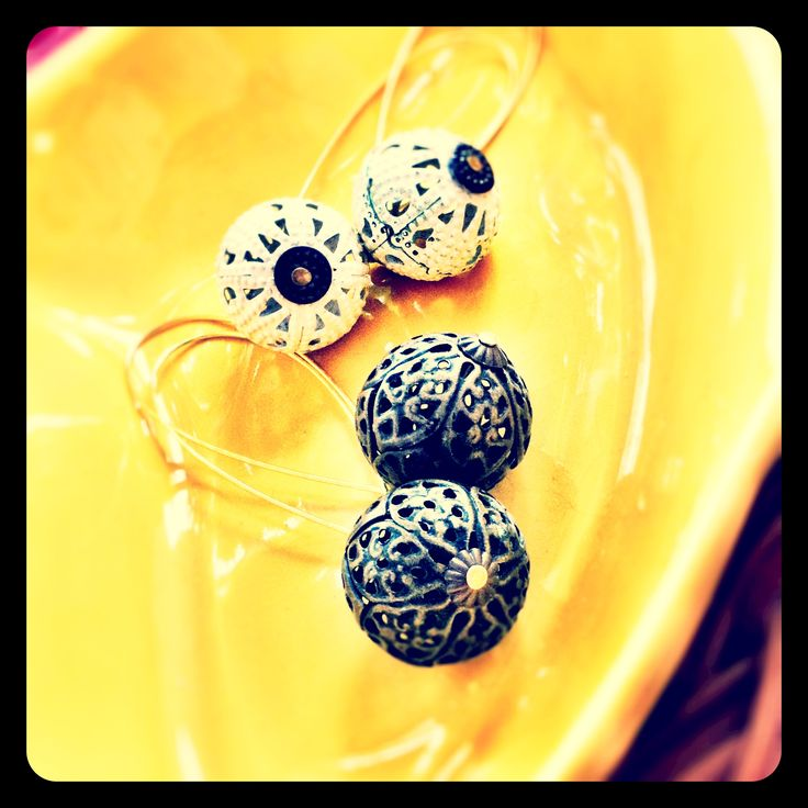 Reclaimed bead earrings - now available at Retrospections