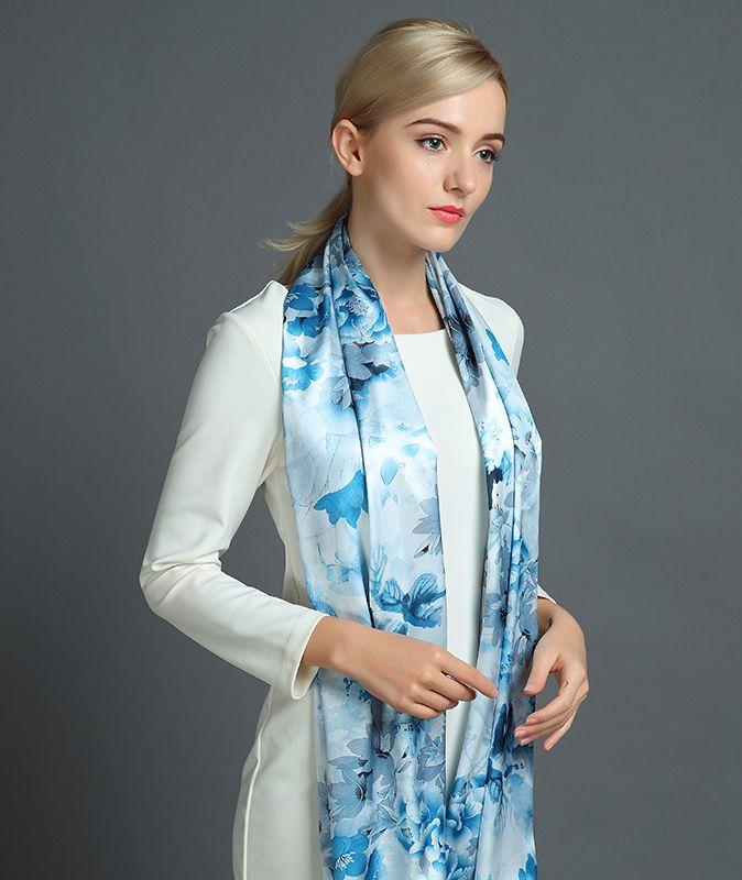 Elegantný hodvábny šál rozmerov 160 x 80 cm - Winter