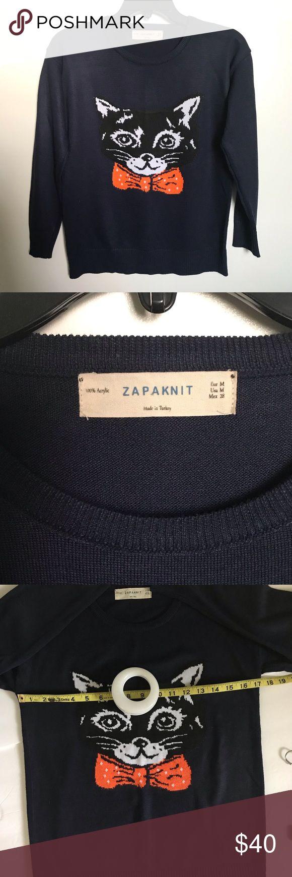 ZapaKnit Black Cat Orange Bow Navy Blue Sweater   Clothes ...