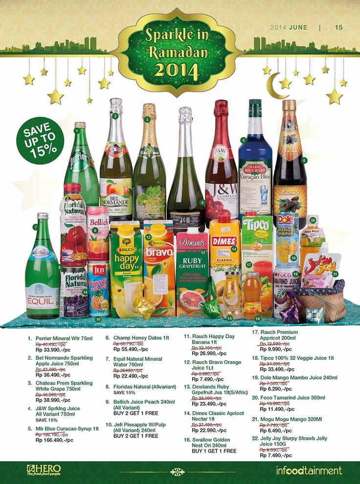Menjelang bulan Ramadhan tidak lengkap jika tidak menyiapkan berbagai minuman yang manis.  Ayo Fresh People, berbelanja di Hero Supermarket dan dapatkan berbagai minuman khas Ramadhan dengan diskon hingga 15%