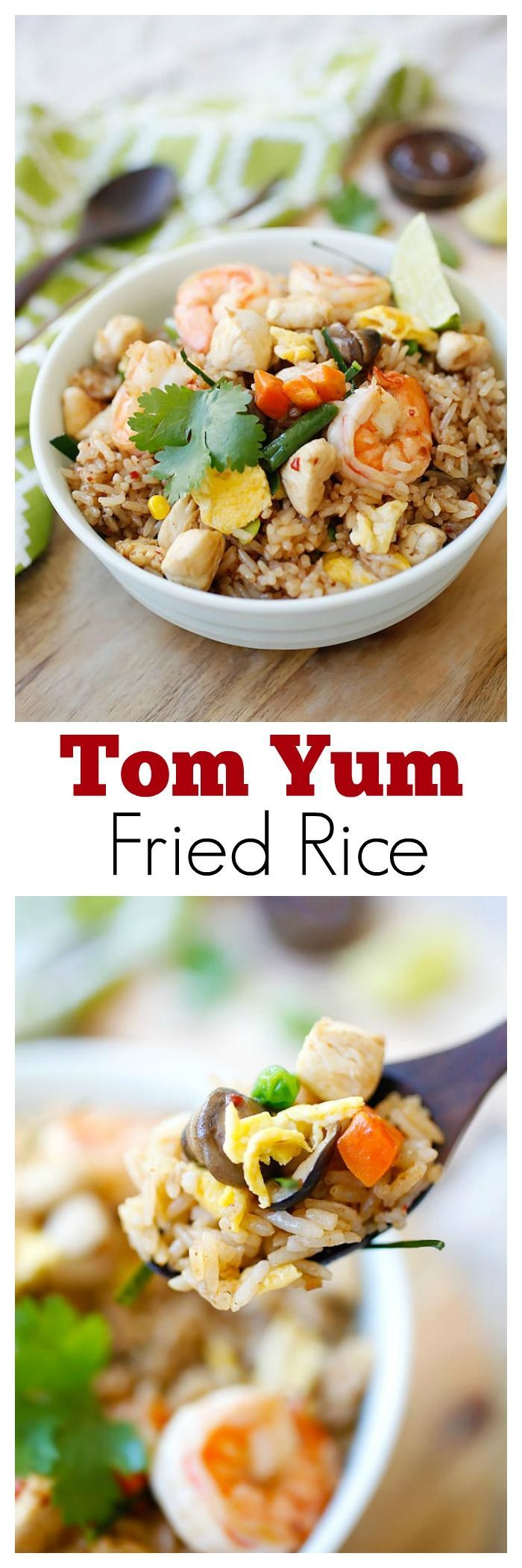 Tom Yum Fried Rice – your favorite Thai Tom Yum Flavor in a fried rice dish. The most amazing fried rice with exotic flavors that you can't stop eating | http://rasamalaysia.com