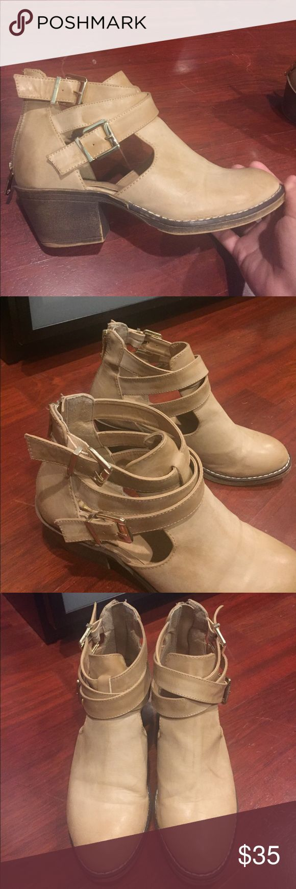 REPORT ANKLE BOOTIES These tan ankle booties are so perfect for spring and summer. There are cutouts and gold buckles on the side. About a 2 inch heel, comfortable to walk in. Zipper back. In great condition! Report Shoes Ankle Boots & Booties