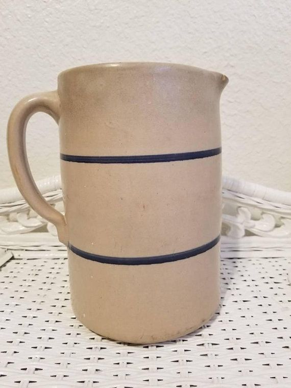 Vintage Stoneware Crock Pitcher With Blue Stripes Handle Spout One Gallon Size Farmhouse Primitive Country Kit Stoneware Crocks Stoneware Country Kitchen Decor