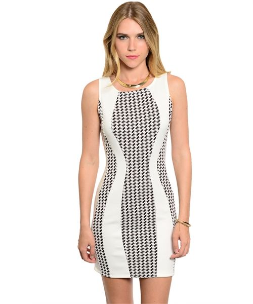Houndstooth Bodycon Ivory Dress AUD$45.28 + Free express shipping... Available in S M & L