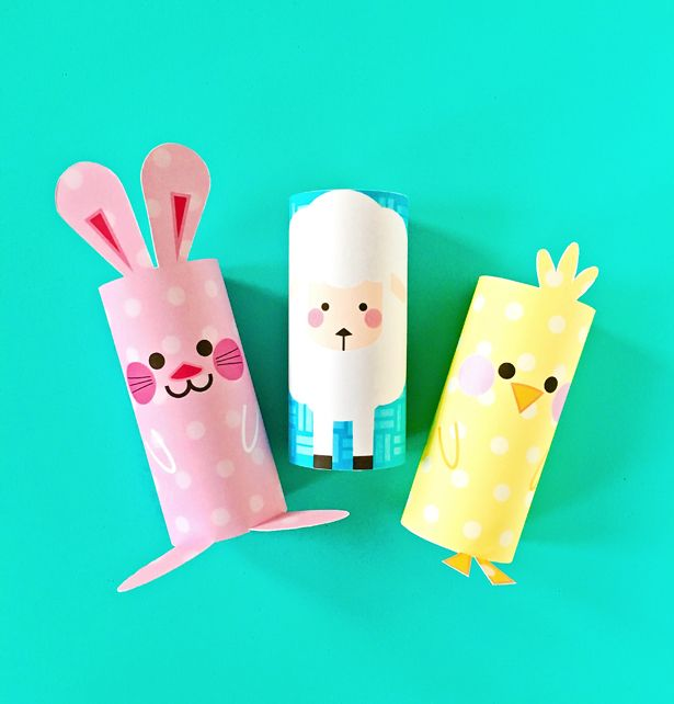 Chick bunny and sheep easter paper tube craft with free for Cardboard sheep template