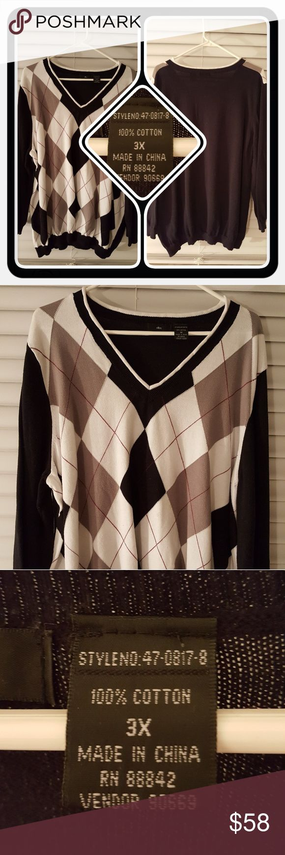 ❤ Woman's V Neck Argle Sweater Size 3X ❤ Euc Woman's Argle V Neck Sweater Size 3X From Woman Within Brand Is Ellos. This Sweater Is Stylish And Fits Roomy Great For Fall And Winter. Excellent Pre Loved Condition Accept For Minor Stains On Front Pictures In Last Photo 🚫 PAYPAL 🚫 TRADES 🚫 OFFERS PRICE IS FIRM ❤ Woman Within Sweaters V-Necks