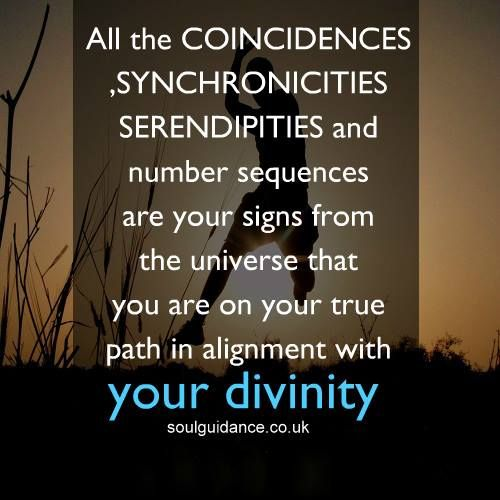 """All the coincidences, synchronicities, serendipities and number sequences are your signs from the universe that you are on your true path in alignment with your divinity."""