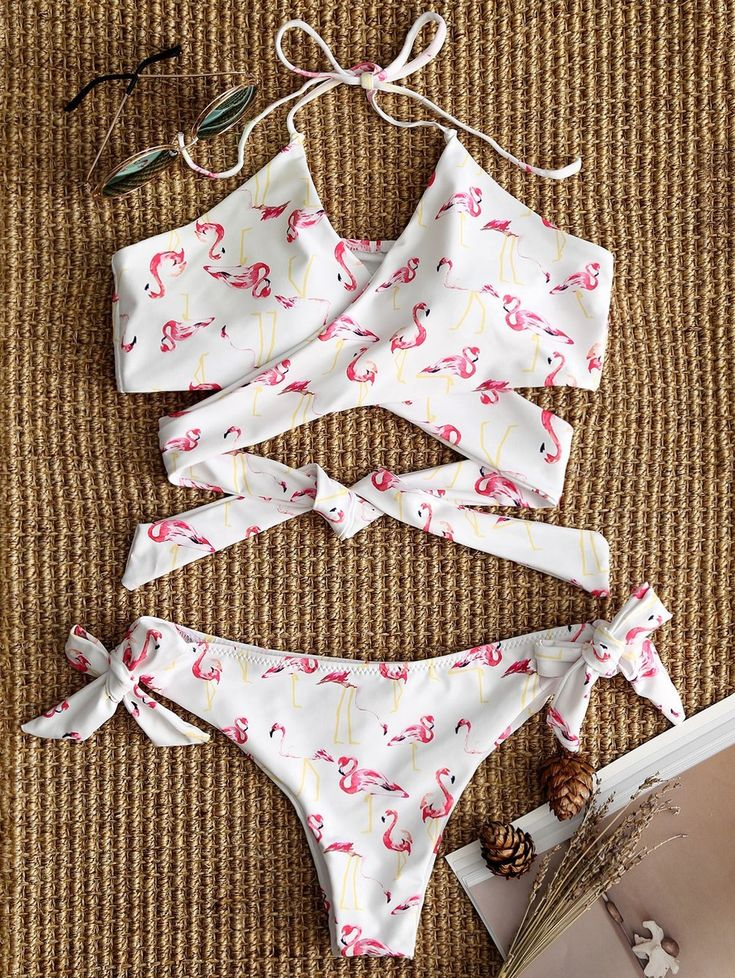 Egret Print Side Tie Wrap Bikini Set