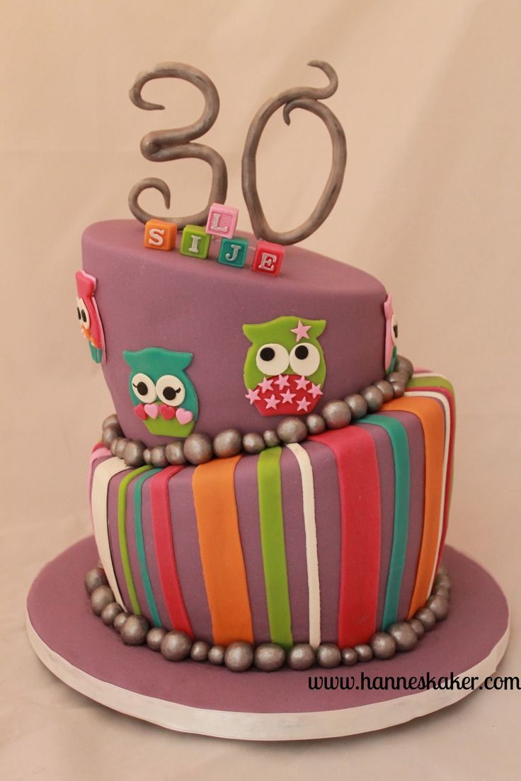 30 years cake. Topsy turvy cake with owls. Made by www.hanneskaker.com