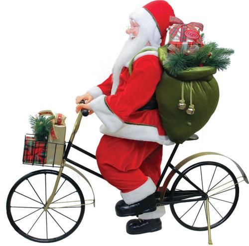 "42"""" Traditional Santa Claus Riding a Bicycle Commercial Christmas Decoration"